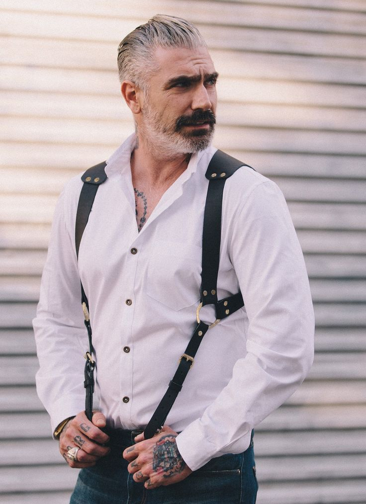 Introducing our new Saddle Holster Leather Suspenders! - 100% leather - Metal hardware Adjustable back strap Sheehan & Co.'s menswear is all Made in USA One size fits all.