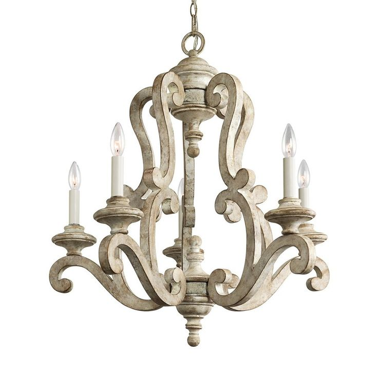 Kichler Lighting Hayman Bay 28 In 5 Light Distressed Antique White Mediterranean Candle Chandelier 43256daw