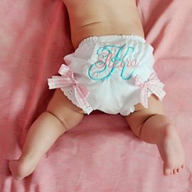 Light Pink and Aqua Personalized Gingham Bloomers