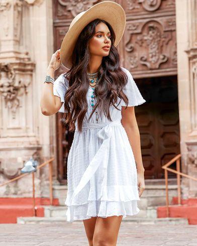 c506d55c08fd6a Jolt Women's White Tie Front Clip Dot Dress , White | Look'n Good ...