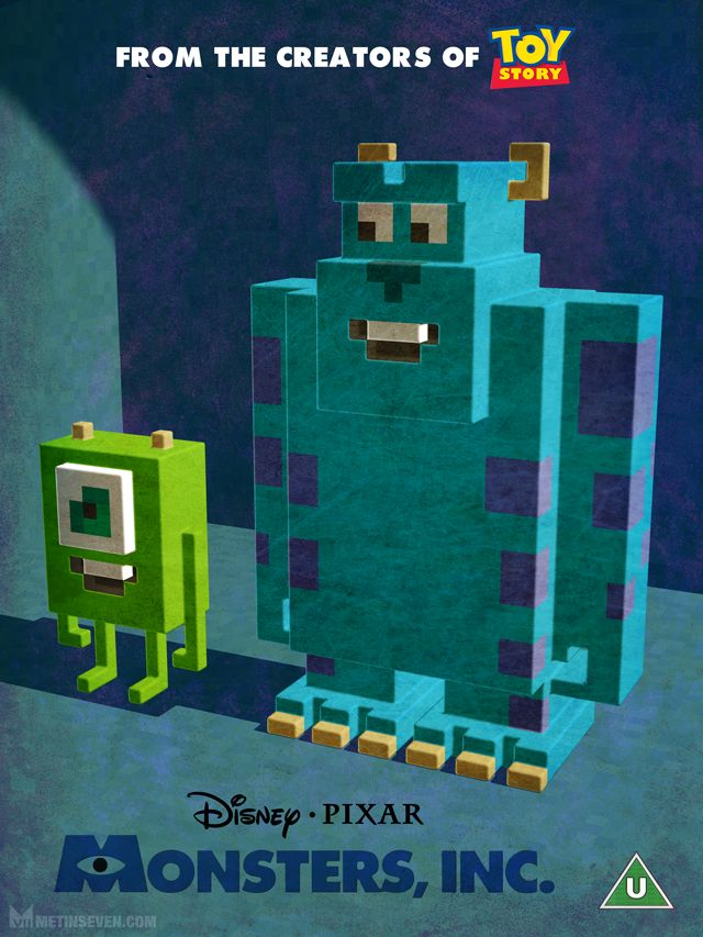 Voxel Monsters Inc poster via http://www.metinseven.com/2015/02/3d-pixel-artist-artwork-voxels-cubic-illustrations.html