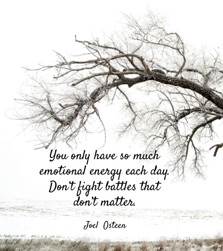 You only have so much emotional energy each day. Don't fight battles that don't matter. ~Joel Osteen
