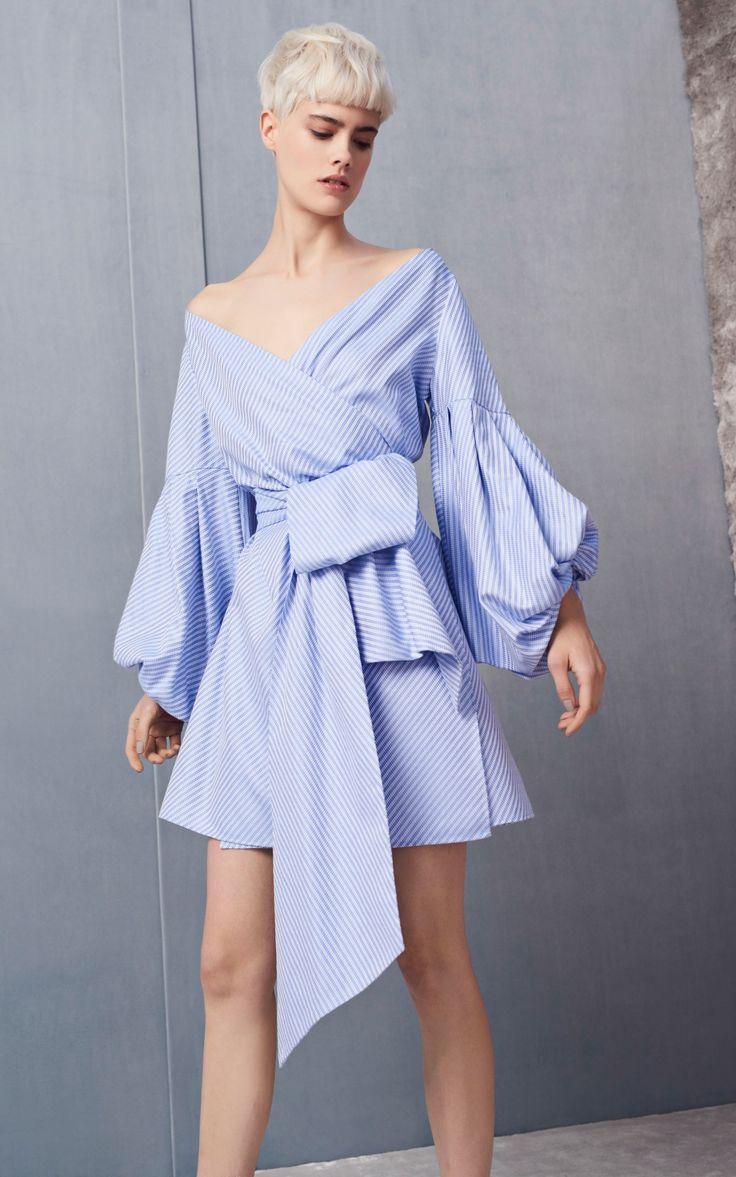 Mana Balloon Sleeve Off the Shoulder Blue Bow Dress by Alexis | Moda Operandi