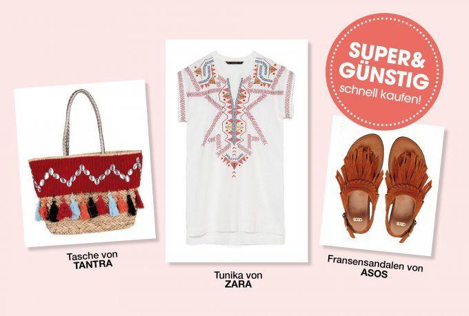 Der Günstig-Look für diesen sonnigen Sonntag: Tunika meets Beachbag und Fransen-Sandalen