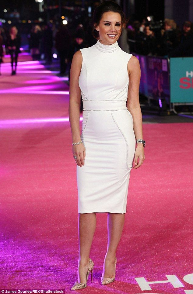 Bodacious in a bodycon: Danielle Lloyd pulled out all the style stops, as she arrived at the London premiere of How To Be Single, on Tuesday night