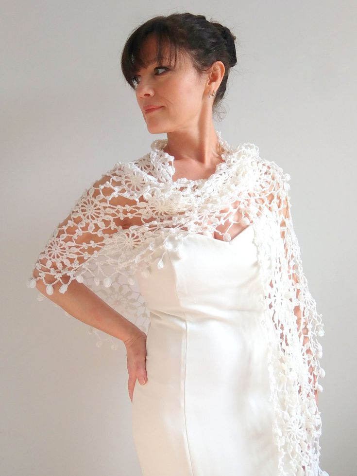 Crochet shawl,bridal shawl,white shawl,wedding shawl,ivory shawl,bridal wrap,bridal shrug,crochet wrap,gift for her,ready to ship, by Minnoshko on Etsy
