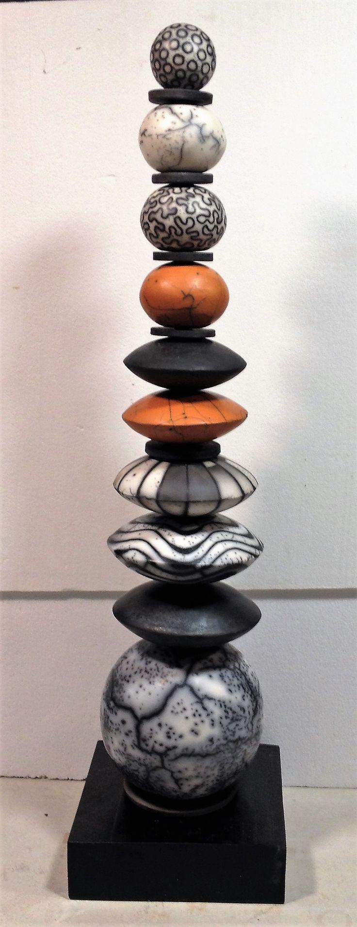 TOTEMIC GEO STRUCTURE, naked raku, terra sig, and carbonized assemblage, by Judith Paisley. www.paisleyceramics.com