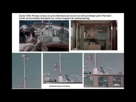 Met de hakenkruisvlag aan de mast