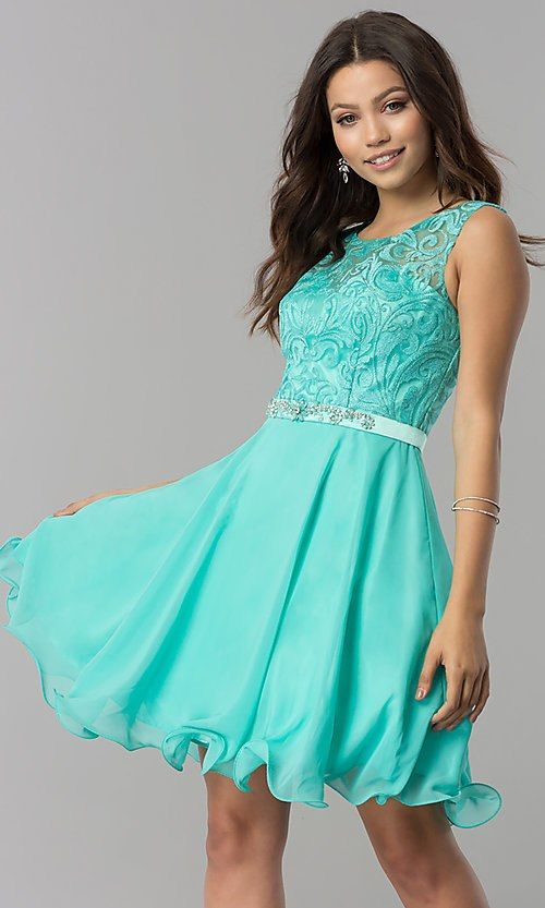 6d4bd7467b1 Lace-Bodice Short Chiffon Homecoming Party Dress