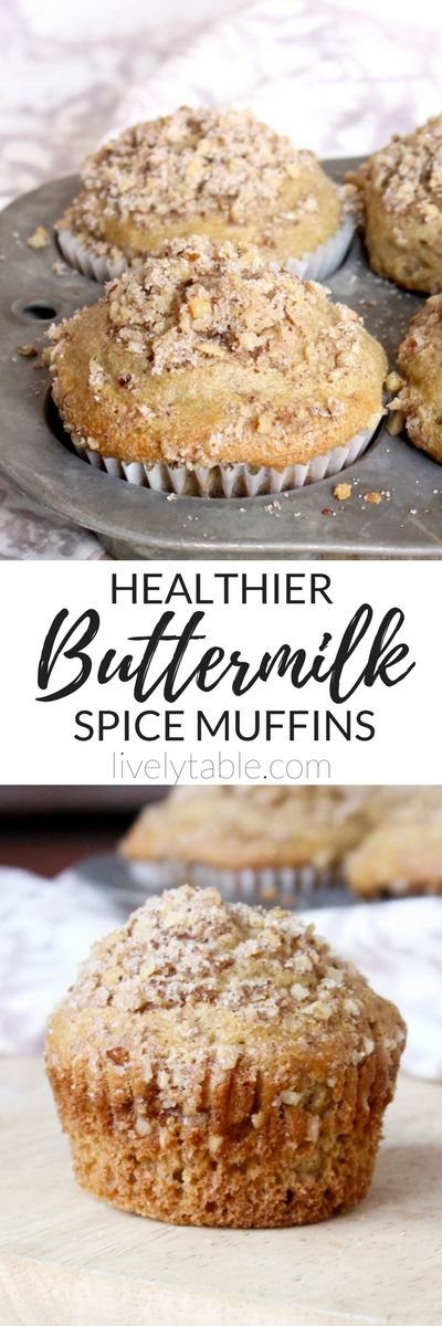 Delicious Buttermilk Spice Muffins with a crumbly walnut topping made healthier with greek yogurt and whole wheat flour make a great weekend breakfast treat! via livelytable.com