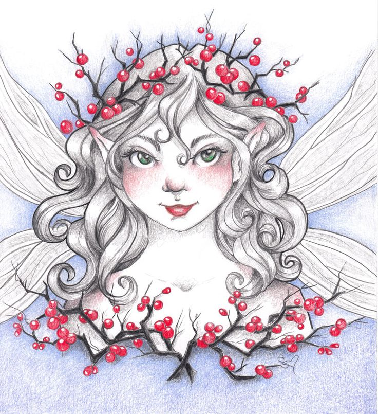 Holly Berry Fairy By ShannonValentine. | Pencil drawings ...