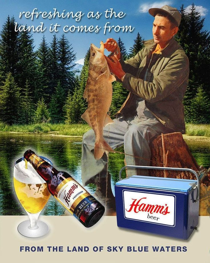 Vintage HAMMS Beer Fishing w/Cooler, Refrigerator Magnet