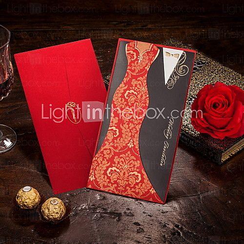 Não personalizado Embrulhado e de Bolso Convites de casamento Cartões de convite-50 Peça/Conjunto Estilo Noiva e Noivo Papel de Cartão8 de 2017 por R$160.52