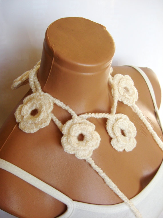 Cream ivory Roses Lariat Scarf Fashion Flower by WomanStyleStore, $16.00