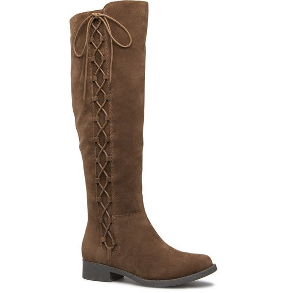 ShoeDazzle Boots Katty Flat Boot Womens Brown ❤ liked on Polyvore featuring shoes, boots, brown, tall boots, laced boots, knee-high lace-up boots, high laced boots and flat boots