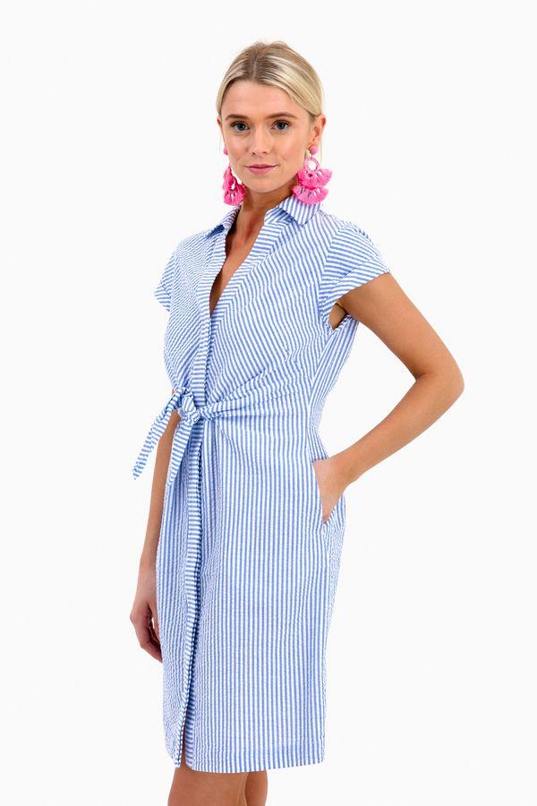 58643989f1 Tie Front Seersucker Shirt Dress in Cornflower by Vineyard Vines - Tnuck