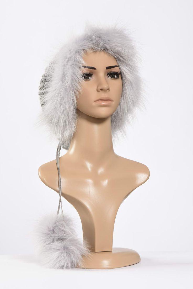 Πλεκτά με γούνα : Silver neck warmer and hat