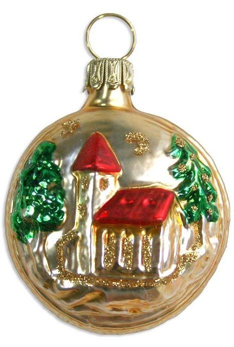 Old Fashioned Glass Christmas Ornaments Part - 26: Country Church Blown Glass Christmas Ornament ~ Germany