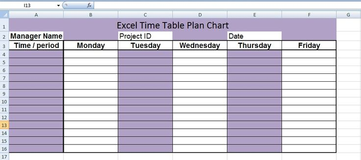 Free Excel TimeTable Plan Chart Template Microsoft Office Chart - project timetable