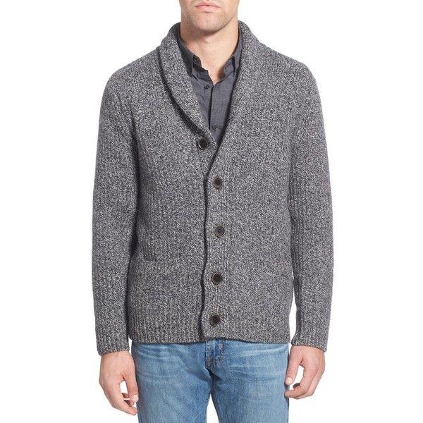 Men's Schott Nyc Shawl Collar Wool Blend Cardigan ($125) via Polyvore featuring men's fashion, men's clothing, men's sweaters, heather grey, mens cardigan sweaters, mens sweaters, mens shawl collar sweater and mens shawl collar cardigan sweater