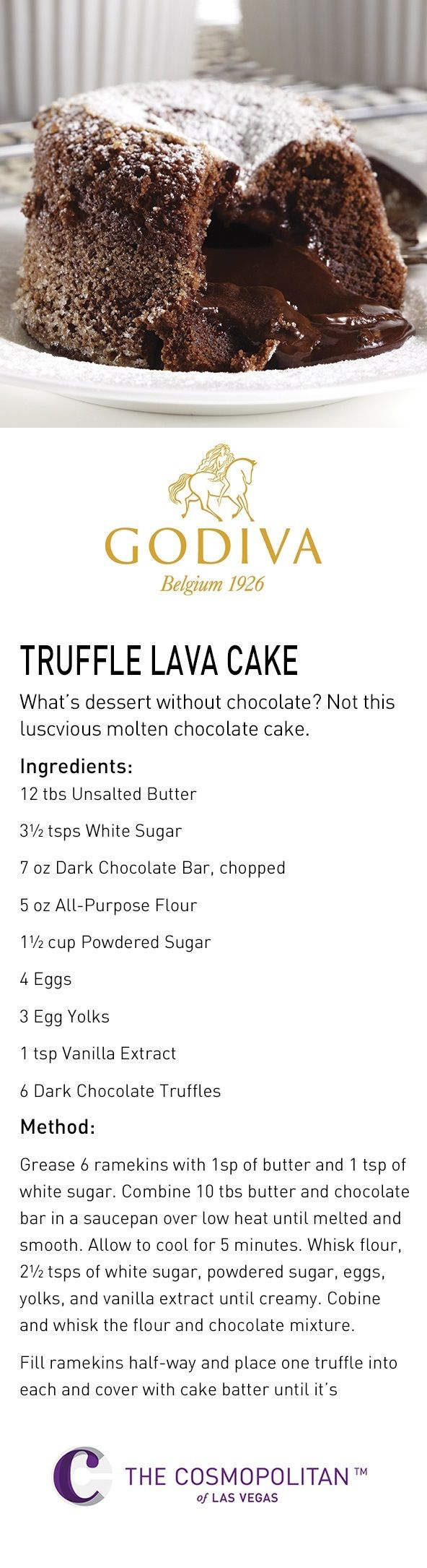 What's dessert without chocolate? Definitely not this molten lava cake made with @GODIVA chocolate.