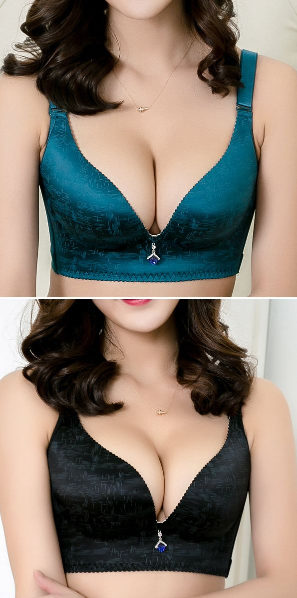 US$14.44 Women Sexy V Wireless Push Up Seamless Adjustable Gather Bras