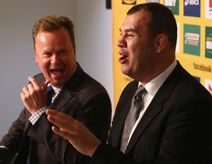 ARU CEO Bill Pulver and new Wallabies coach Michael Cheika share a laugh