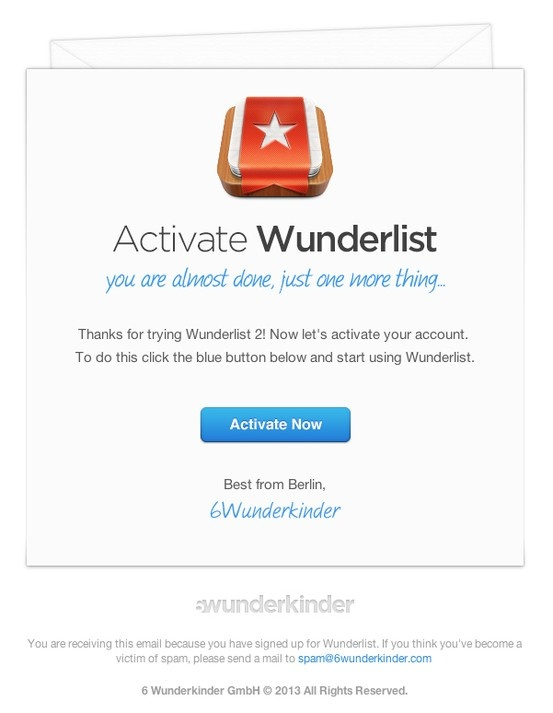 activation email template - this activation notification email from wunderlist is