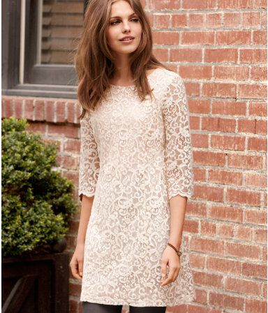 I normally am not a fan of the 60's style of fashion...but this dress is sweet!: Ballet Flat, Cute Dresses, Shower Dresses, Shift Dresses, White Lace Dresses, Brown Boots, Sweet Dresses, Romantic Dresses, 60S Style