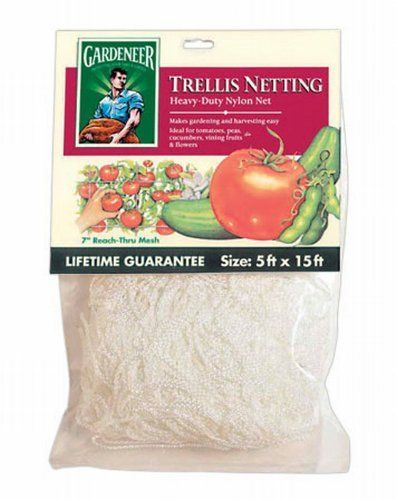 Trellis Netting - 5' x 15' by Gardeneer. $9.95. 7 inch reach thru squares. strong and durable. use vertical or horizontal. keeps vines off the ground. nylon netting. Heavy-duty nylon netting is ideal for growing tomatoes, peas and all vine crops. 7? reach through mesh. This professional quality, nylon trellis netting provides versatile plant support.? Durable nylon allow for multiple uses.? May be installed horizontally or vertically.. Save 17%!
