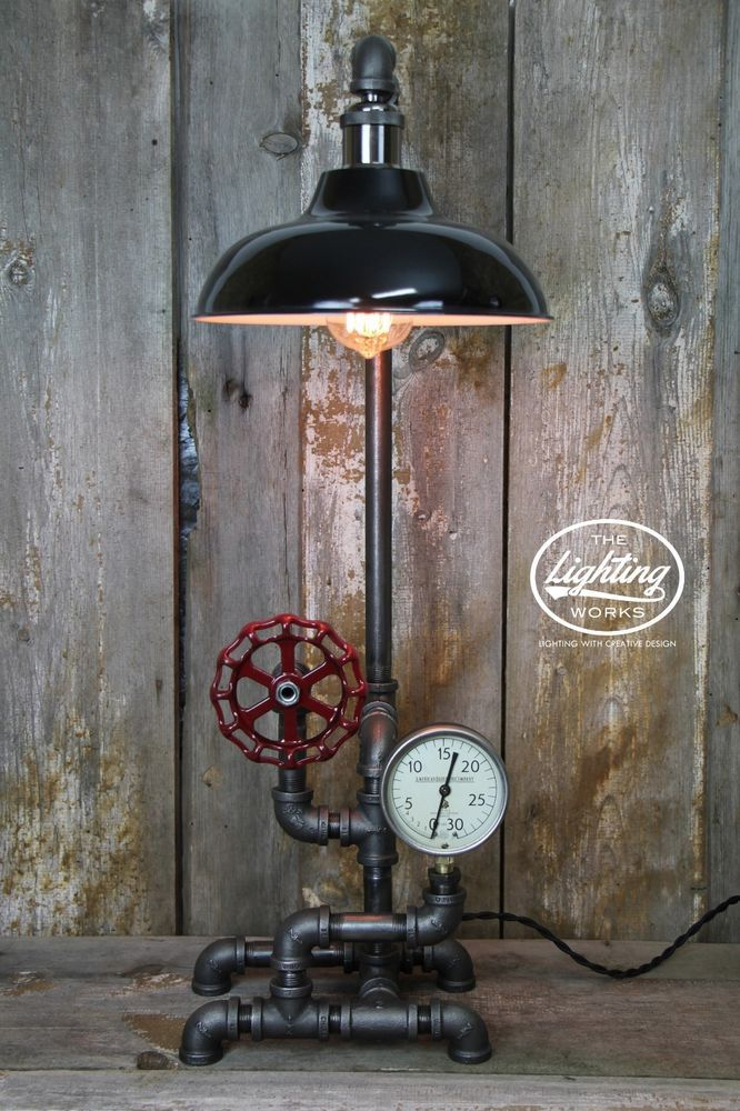Steampunk Lamp Industrial Machine Age Table Lamp with Pressure Gauge
