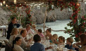 Roper and party at exclusive C'a's Patró March fish restaurant in Cala Deià.