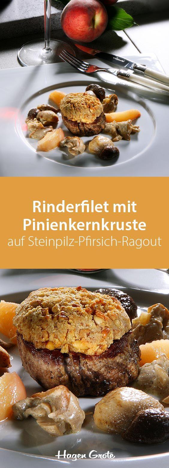 Rinderfilet mit Pinienkernkruste auf Steinpilz-Pfirsich-Ragout