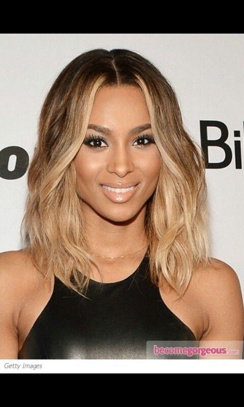 Ciara One Length Blonde Black Amp Brown Long Bob Hair