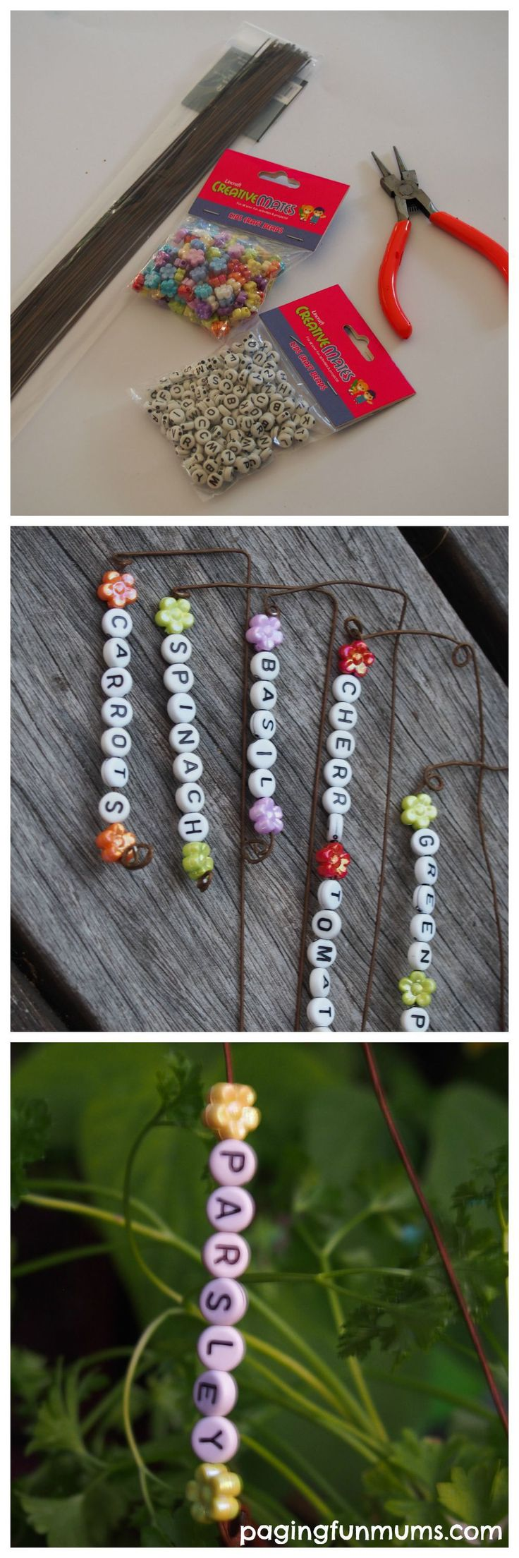 English garden plant labels - Beaded Garden Markers Fun Gardening Project For Kids