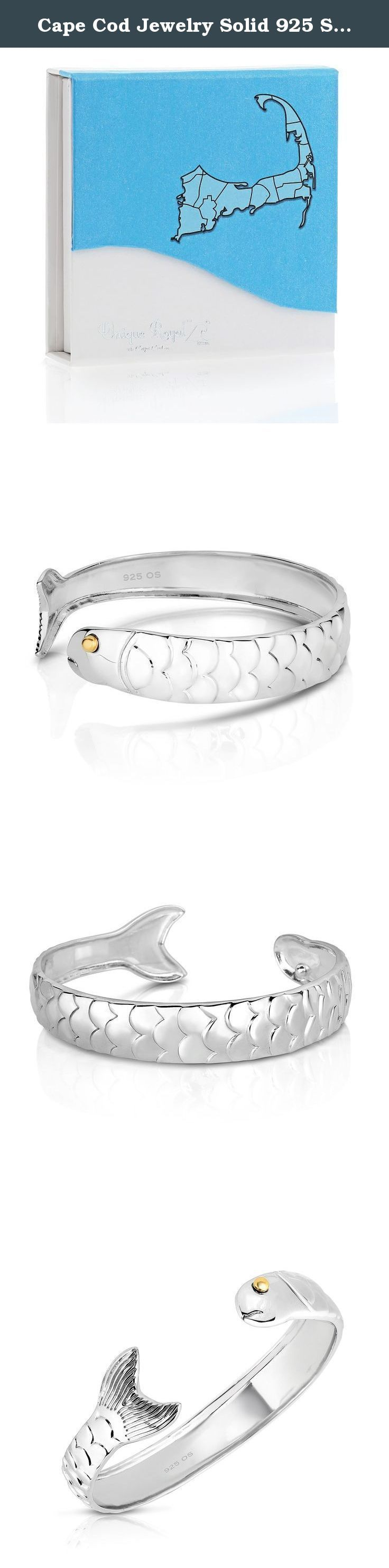Cape Cod Jewelry Solid 925 Sterling Silver and 14k Gold Plated Cod Fish Cuff Bracelet (Natural Silver). This Cod Fish Cuff bracelet design is a member of the family of our Cape Cod's popular line of Jewelry. As part of the most popular styles of the Cape Cod Jewelry line this cuff bangle bracelet features the symbol of Cape Cod, the Cod Fish, in a beautiful intricate design. Each of our jewelry items come in an adorable gift box for safe storage or to surprise that very special person in...