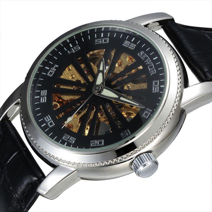 $22.00 (Buy here: https://alitems.com/g/1e8d114494ebda23ff8b16525dc3e8/?i=5&ulp=https%3A%2F%2Fwww.aliexpress.com%2Fitem%2F2016-luxury-fashion-leather-male-clock-SEWOR-brand-stylish-design-classic-mechanical-self-wind-wrist-dress%2F32631686665.html ) 2016 luxury fashion leather male clock SEWOR brand stylish design automatic mechanical skeleton watch erkek kol saatleri for just $22.00