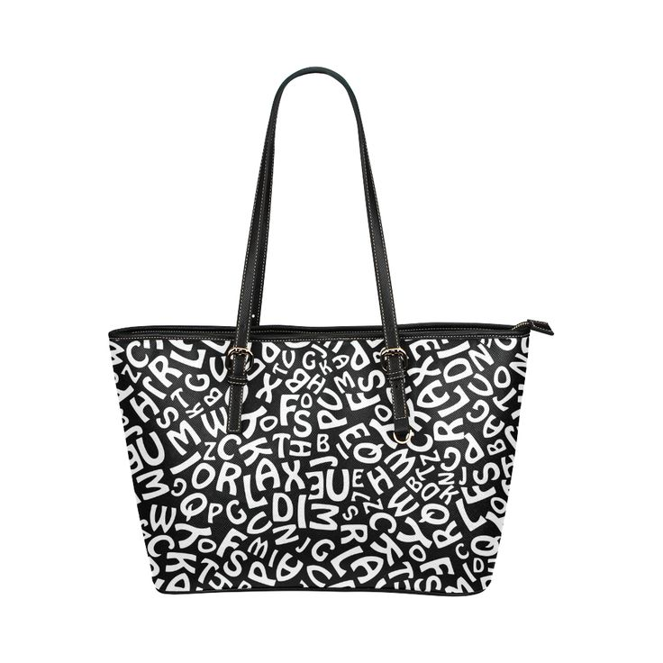 Alphabet Black and White Letters Leather Tote Bag/Small (Model 1651)