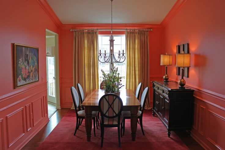 Dining Room Coral High Gloss Trim Walls And Trim Same