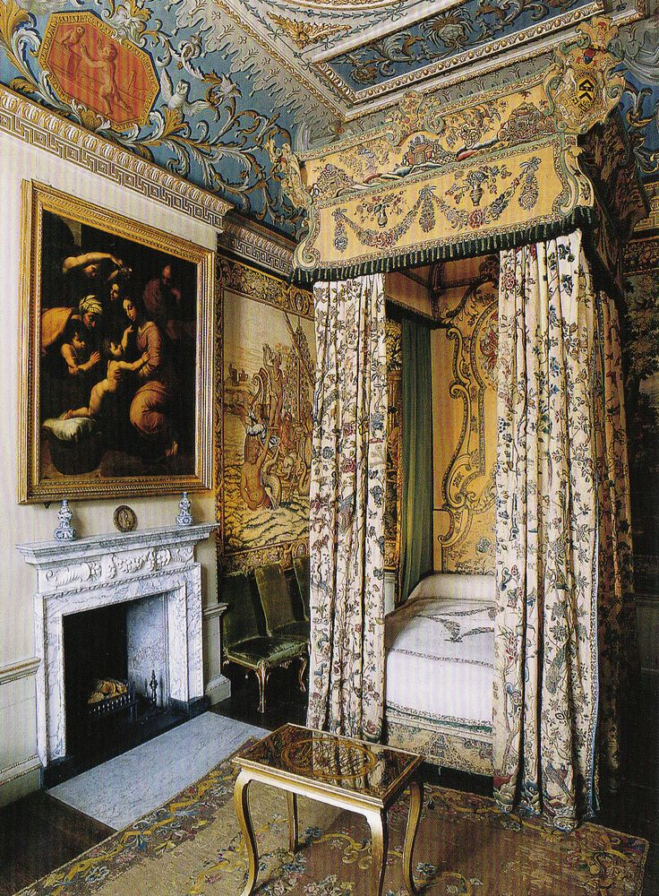 Mrs Bennet's bedchamber at Pemberley OR Houghton Hall - Kneedle-work bed with English embroidery. Original Interiors by William Kent. Book: Early Georgian Interiors by John Cornforth