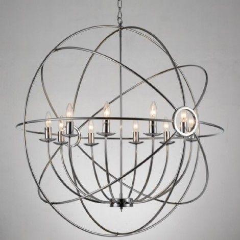 Sphère suspendu chrome avec chandelier 10 bras à l'intérieur. Parfaitement conçu pour un allure chaleureux et contemporain dans la salle à manger, l'entrée, l'escalier, chambre à coucher et même pour les mezzanines.