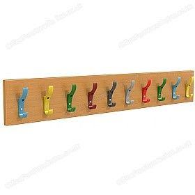 Multi-Coloured Classroom Coat Hook Rails £38 - Education Furniture