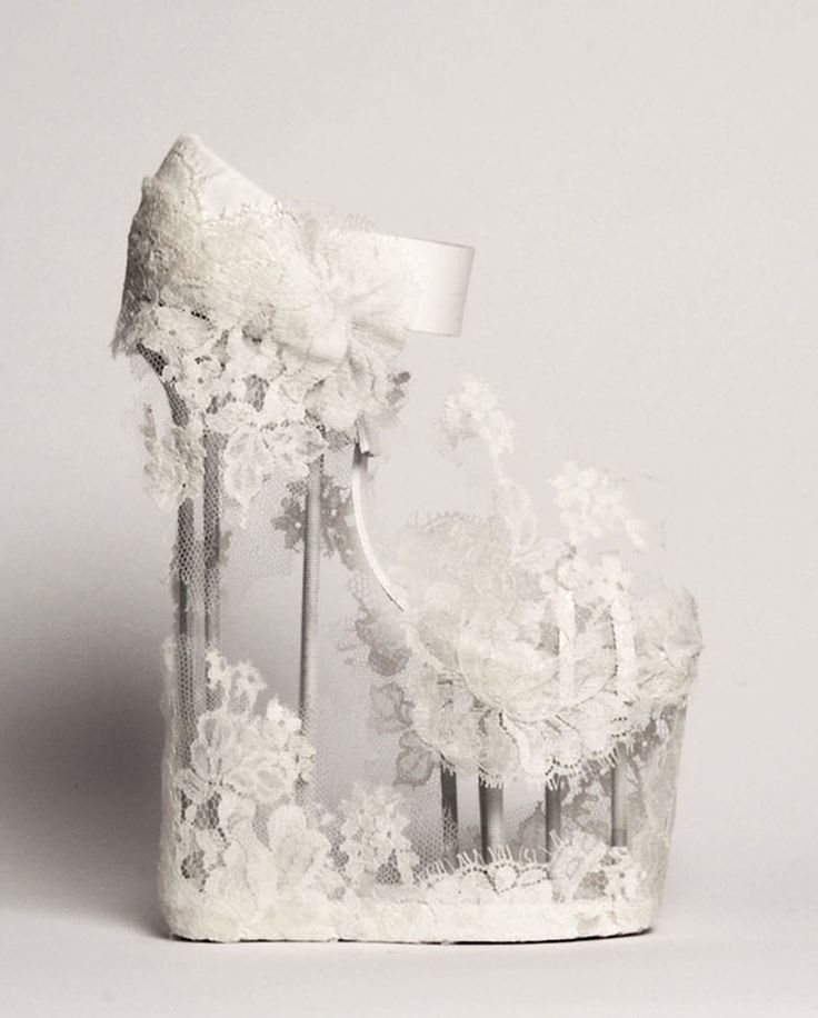 """Shoes by Filippa Borenius: """"The basis for the inspiration lies in the Gothic church towers and nature decons hard metal structures in contrast to the fragile tip, which visualizes wedding romance and kyrkfönsternas dramatic natural light.In cooperation with Kerstin Larsson f15"""""""