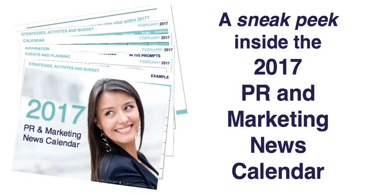 Create a consistent flow of leads through smart, well-planned PR and marketing with the 2017 PR and Marketing News Calendar. Get the month of February FREE!