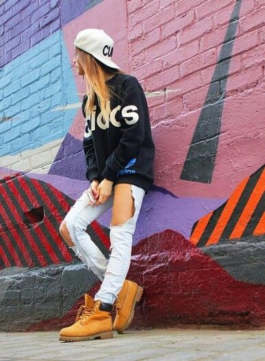 Urban fashion, adidas, timberland boots, streetwear