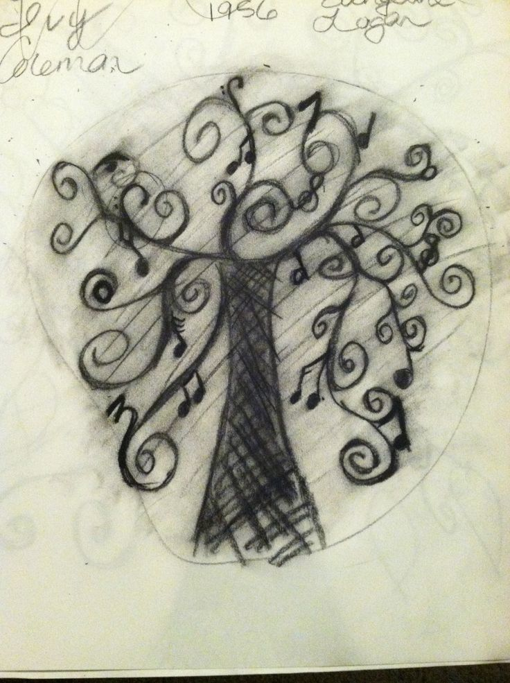 So, I was messing around with an idea...I'm giving in-law grandparents framed family trees; so, I have a sketchbook and charcoal lying around.   My idea is stemmed from the other musical tree pin I have.  You can incorporate other musical markings such as a fermata, half note, whole note, quarter note, sixteenth note...you get the idea.  And yes..it's not pretty...it's definitely what you would consider a rough sketch