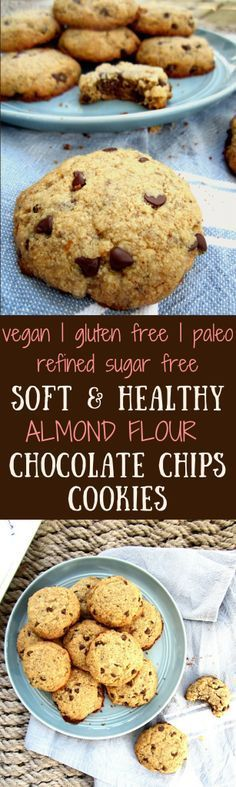 Soft & Healthy Almond Flour Chocolate Chip Cookies - gluten free, paleo AND vegan - easy, simply delicious and made with healthy ingredients! {refined sugar free}   veganchickpea.com