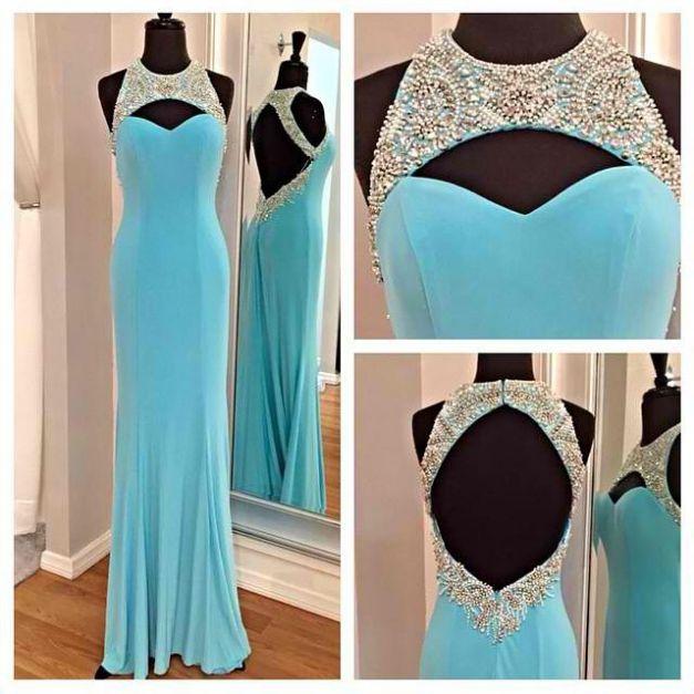 Prom Dress, Blue Dress, Chiffon Dress, Silk Dress, Blue Prom Dress, Beaded Dress, Keyhole Dress, Dress Prom, Blue Chiffon Dress, Dress Blue, Ice Blue Dress
