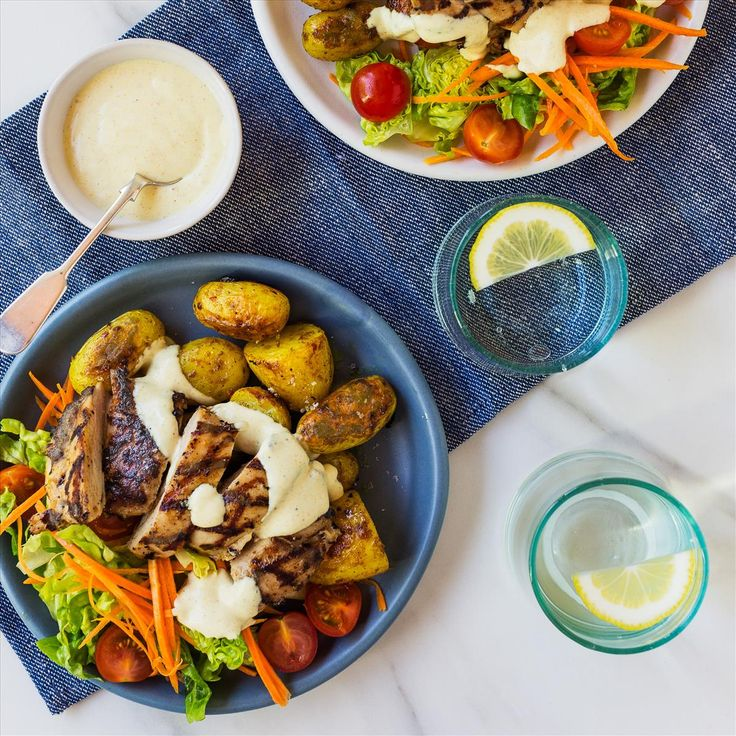 Chicken Salad with Curry Yoghurt Dressing and Roasted Potatoes
