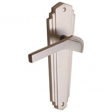 Waldorf 1930's Art Deco Door Handles - Satin Nickel - The Brassware Company - Architectural Ironmongery